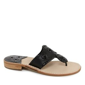 JACK ROGERS PALM BEACH LEATHER WHIPSTICHED SANDALS